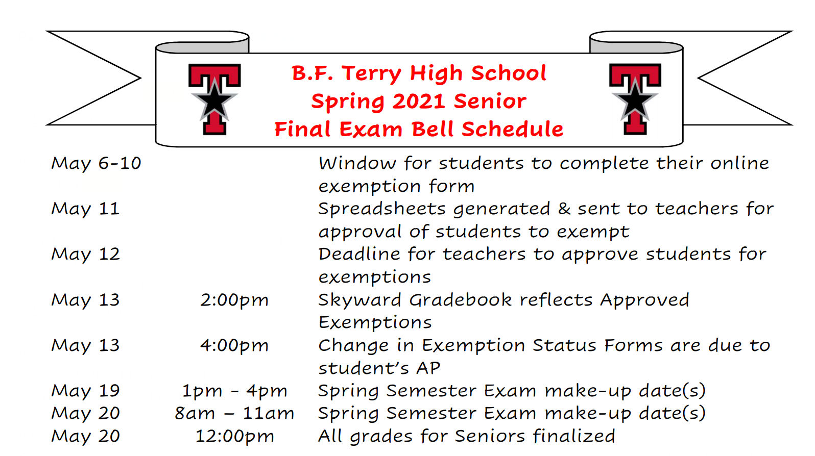 2021 Senior Final exam schedule